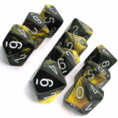 Black & Gold Gemini D10 Ten Sided Dice Set